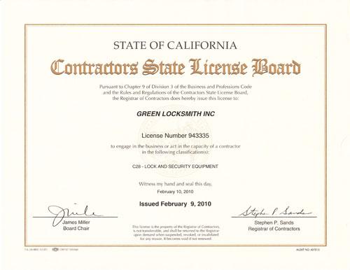 Contractor Certificate
